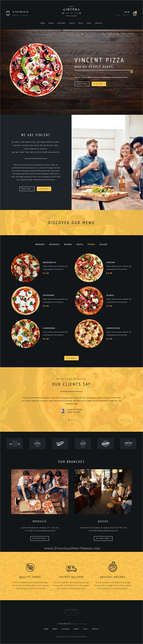 Vincent is clean and modern design 6in1 responsive #WordPress theme for #restaurant, #pizzeria cafe and food order online services website download now➩ https://themeforest.net/item/restaurant-vincent-restaurant-and-pizza-cafe/19767832?ref=Datasata