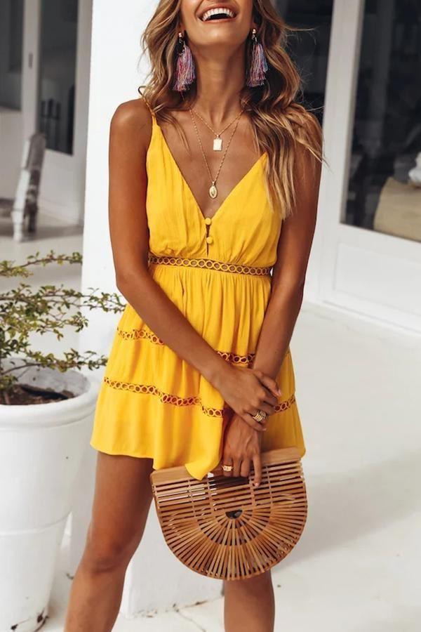 Stylish Yellow Sleeveless Vacation Mini Dress