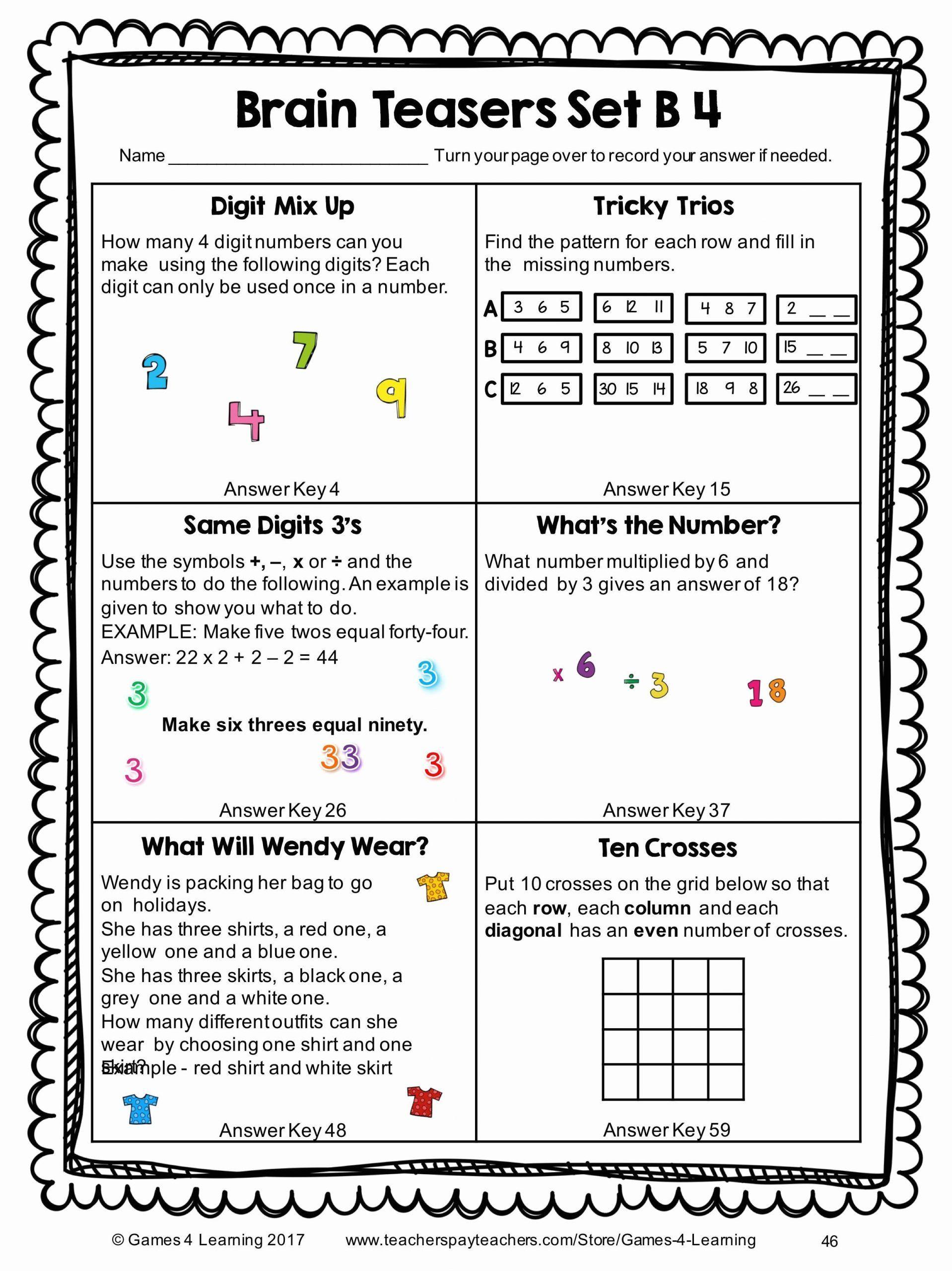 Brain Teasers Printable Worksheets In