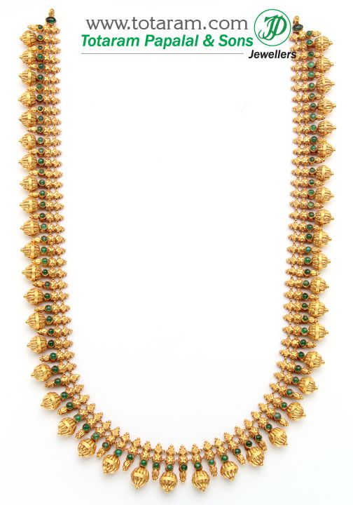 22K Gold Double Side Design Long Necklace Temple Jewellery GN345