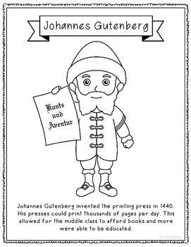 Johannes Gutenberg Inventor Coloring Page Craft Or Poster Stem
