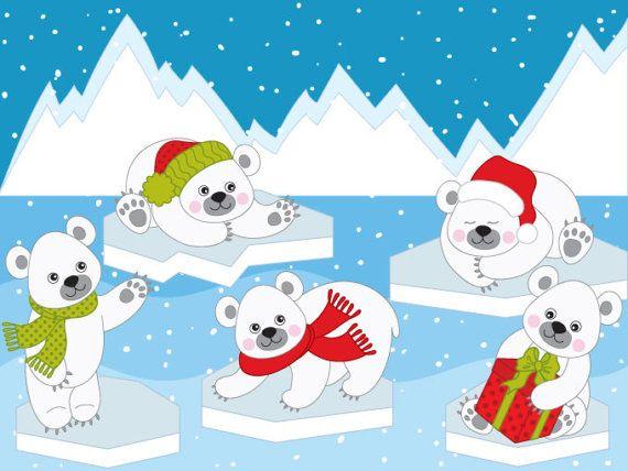 Polar Bears Clipart Digital Vector Arctic Winter White Etsy In 2021 Bear Clipart Polar Bear Cartoon Polar Bear