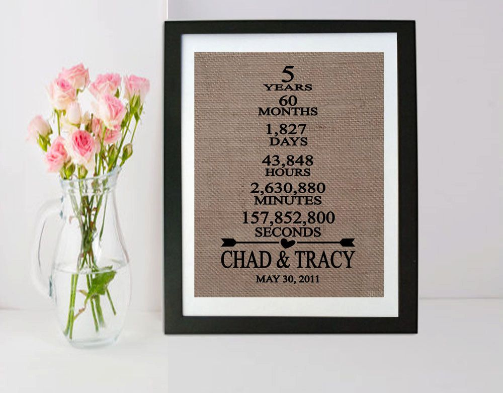 5th Wedding Anniversary Gift 5th Anniversary Gift 5 Years Of