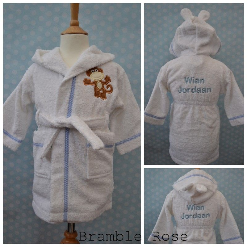 Personlised baby and childrens dressing gowns bear ears on hood of ...
