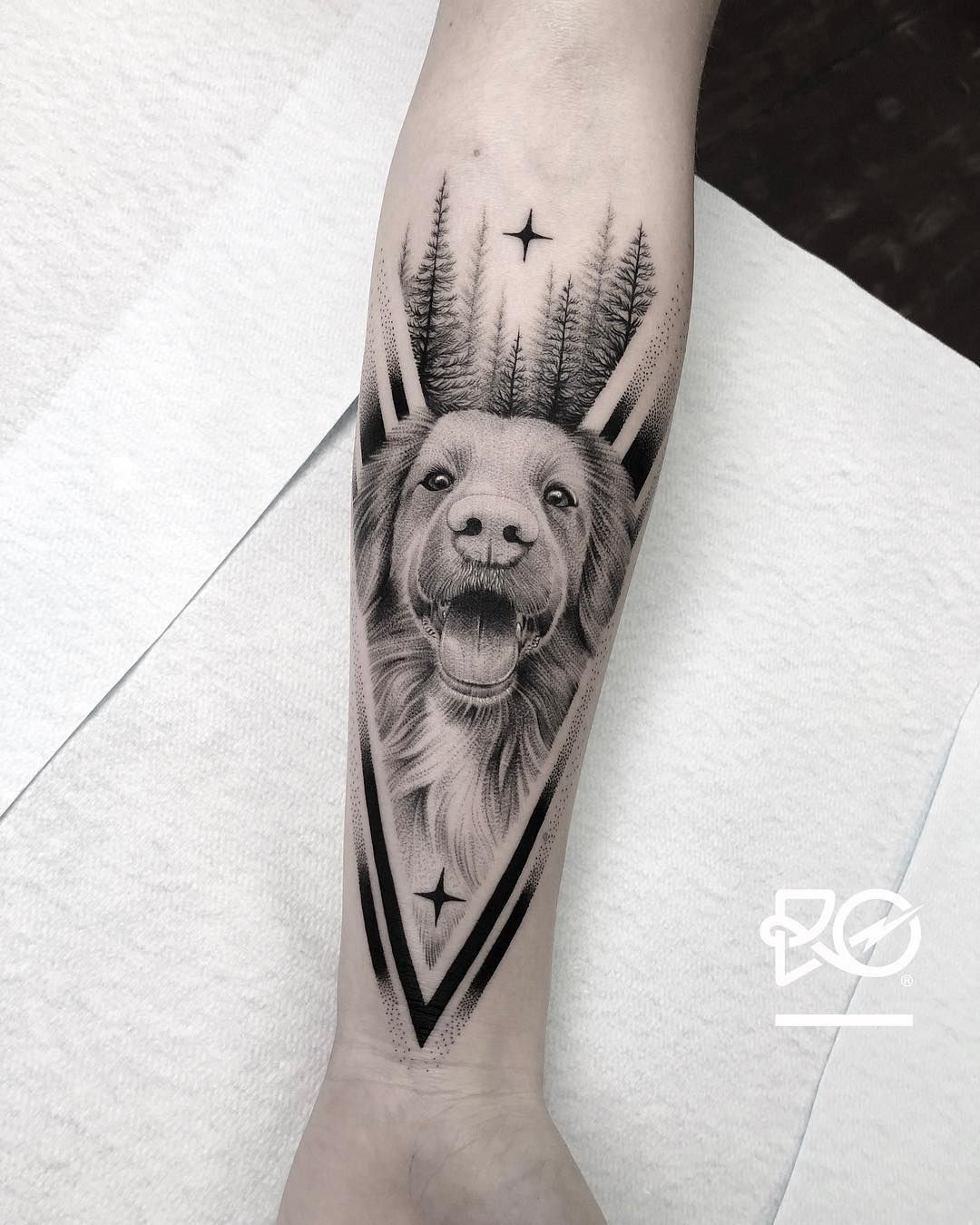 Geometric 3d Dog Tattoo Designs Ideas And Meanings Dog
