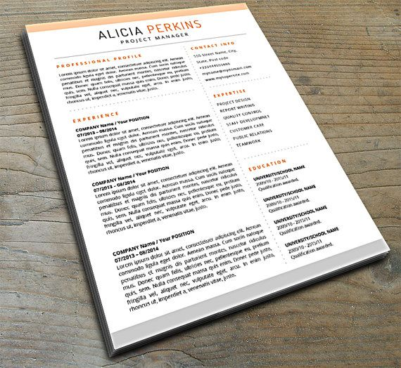 Professional Resume Template with Flair CVs Pinterest