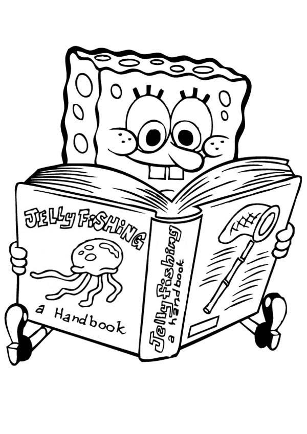 Spongebob Read Jellyfishing Handbook Coloring Page Kids Play Color In 2020 Spongebob Coloring Thanksgiving Coloring Pages Coloring Pages