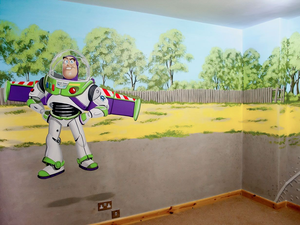 Buzz lightyear bedroom mural fireman sam toys pinterest whole boys room mural with cars mcqueen mater toy storys buzz lightyear fireman sam and thomas the tank amipublicfo Image collections
