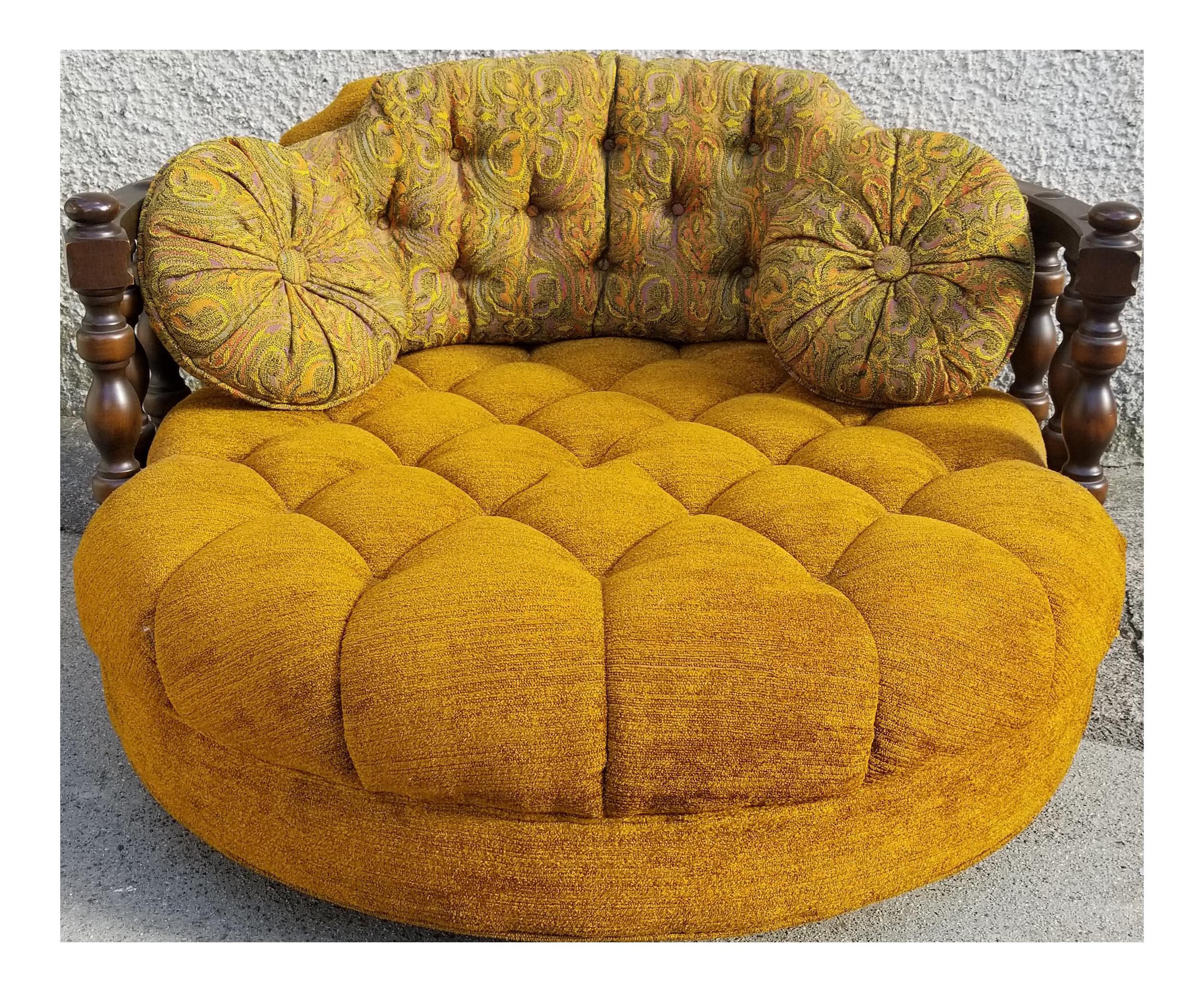 Vintage Mid Century Round Loveseat Chair Orange Yellow