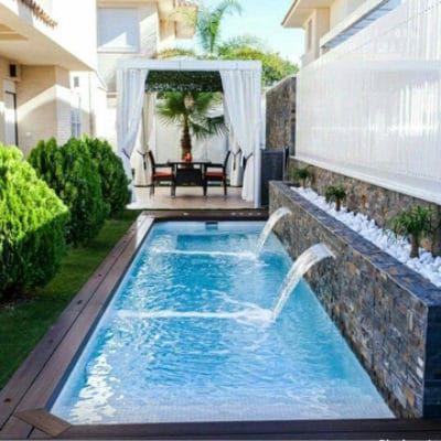 Modernos modelos de piscinas peque as para casas modelos for Piscinas pequenas con cascadas