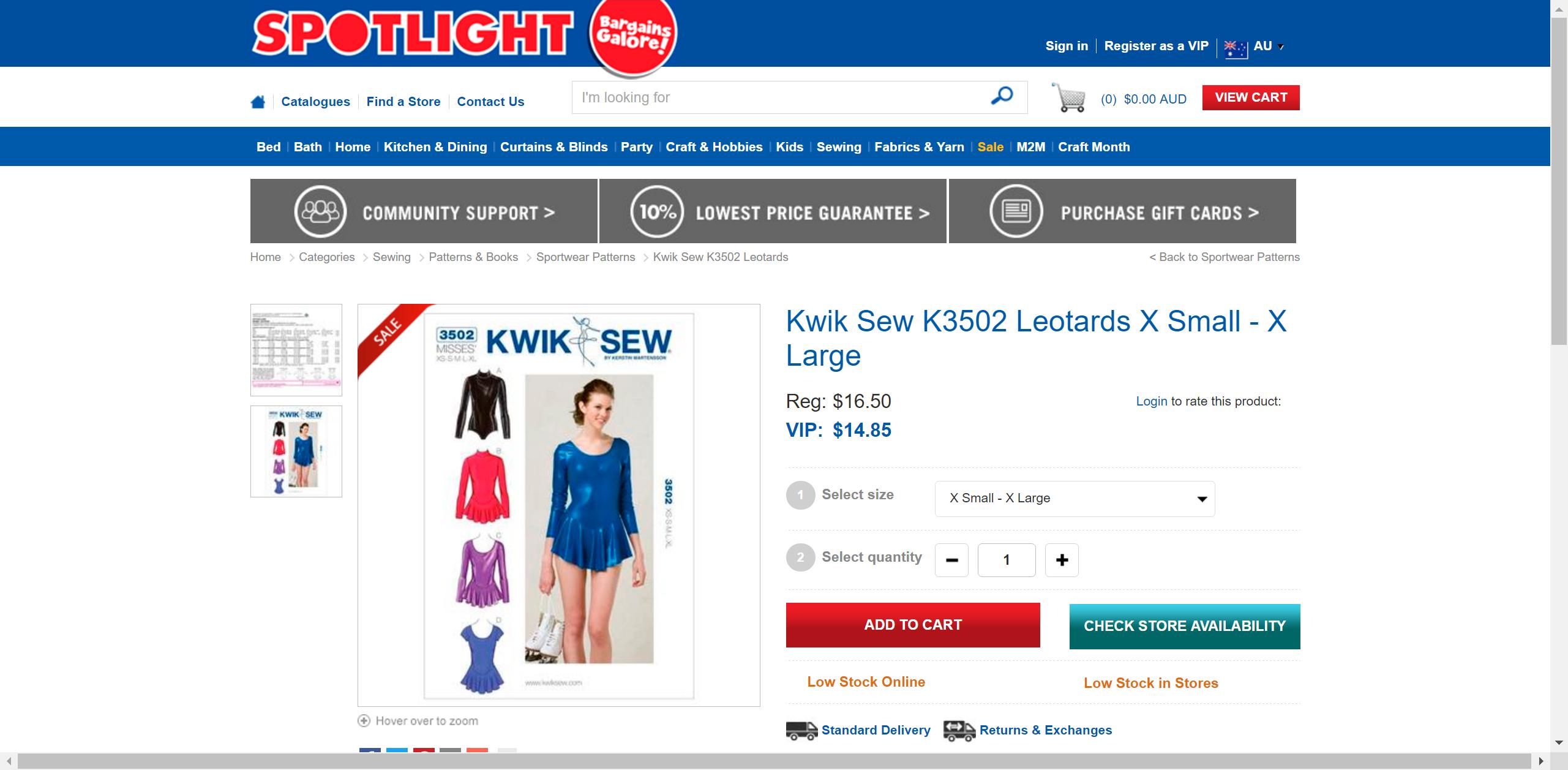 Kwik Sew K3502 Leotards X Small - X Large | Spotlight Australia ...