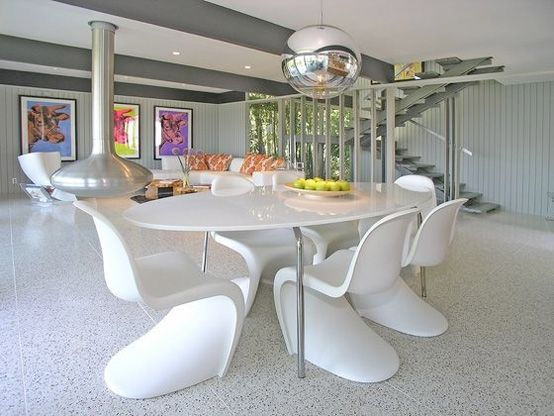 dining table at the post modern home design on hollywood hills - Postmodern Interior Design