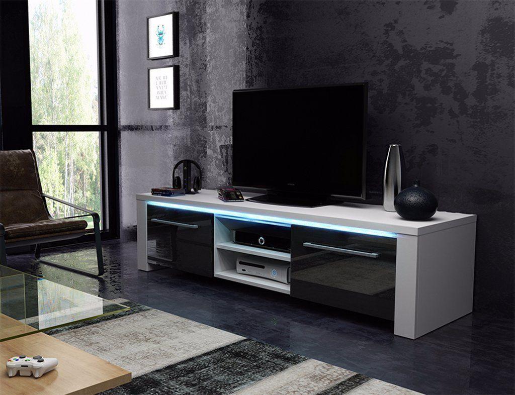 Badezimmerschrank Schwarz ~ Tv schrank lowboard sideboard conoy mit led weiß matt schwarz