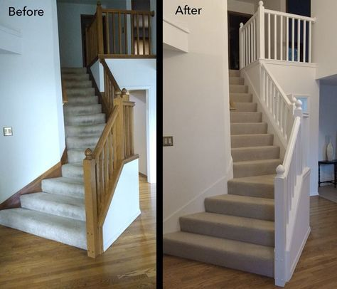 Best Before And After Painted Oak Stair Railing Banister 400 x 300