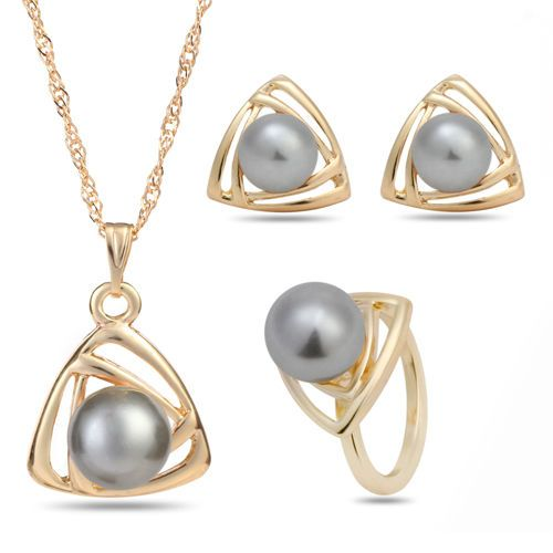 Gold Platinum Plated Pearl Jewelry Set   #none