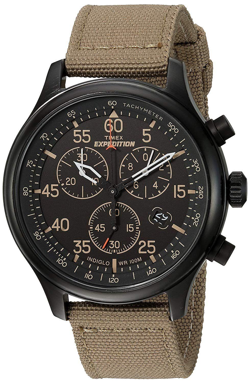 6162a7250501 Timex Expedition Rugged - Reloj análogico de cuarzo con correa de cuero para  hombre
