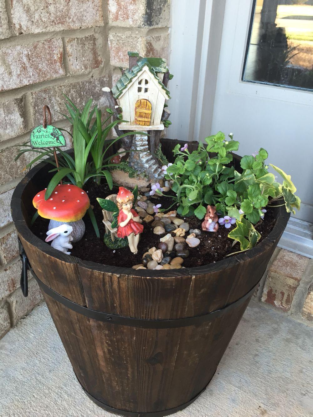 Fairy Garden Bucket from Home Depot. Fairy figures from