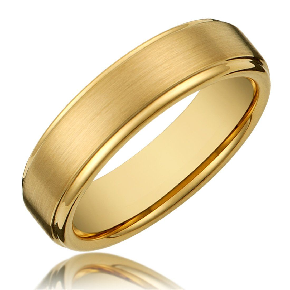 Cavalier Jewelers 6mm Titanium Gold Plated Ring Wedding Band With Flat Brushed Top And Polishe Wedding Ring Bands Gold Band Wedding Ring Titanium Wedding Rings