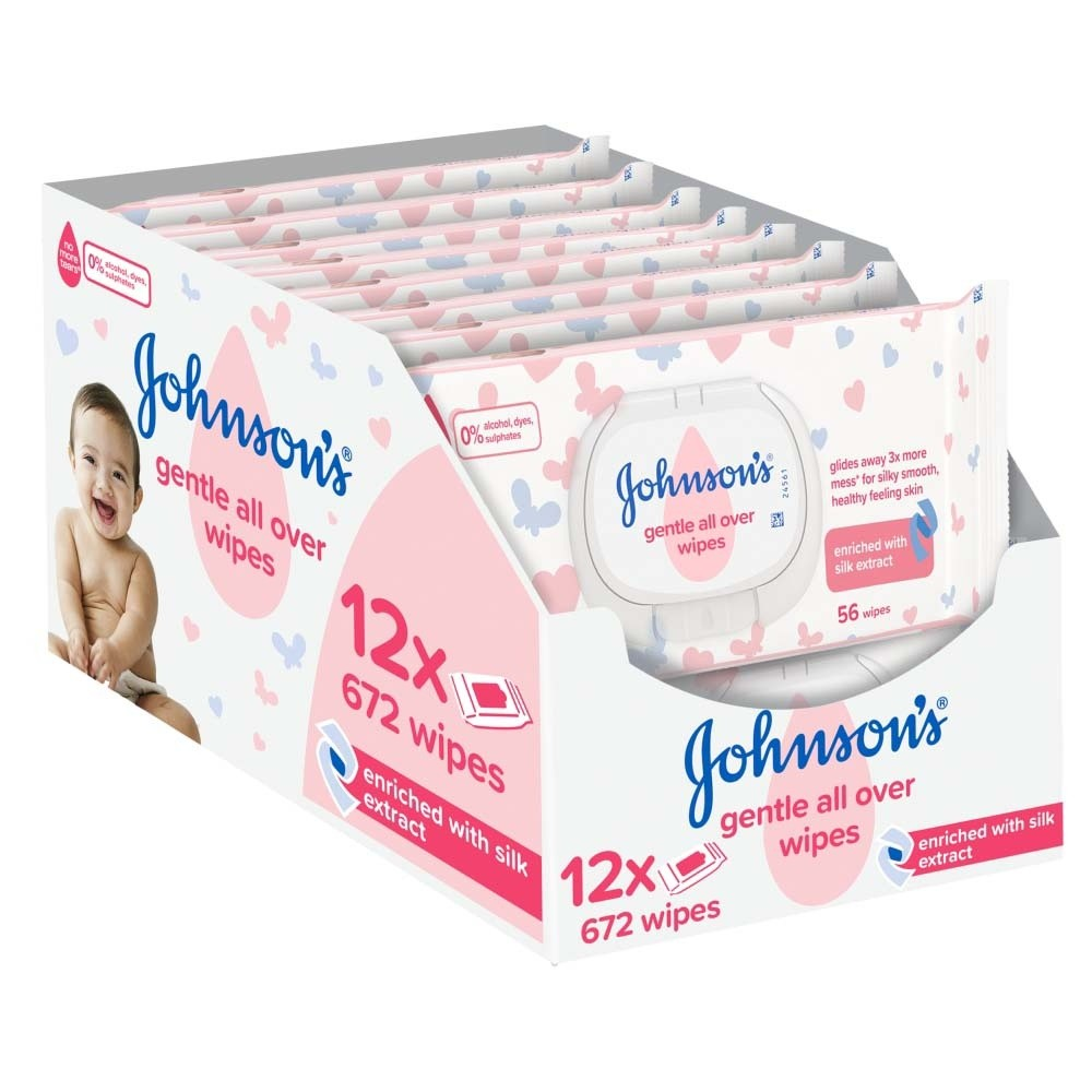 Johnson/'s Gentle All Over Baby Wipes No More Tears 40 Wipe Packs On the Go 12x