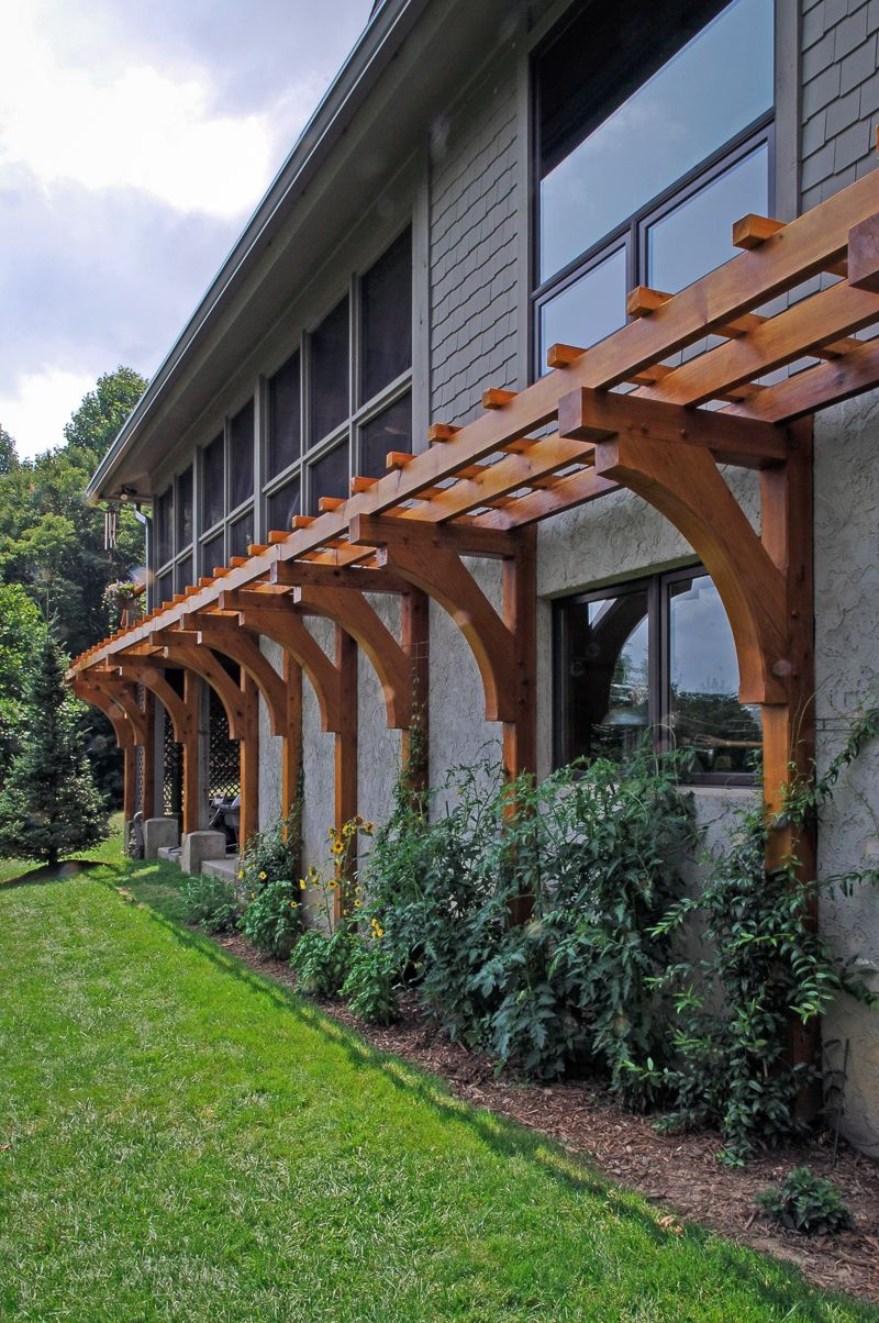 Post And Beam Cedar Trellis With Timber Frame Brackets In