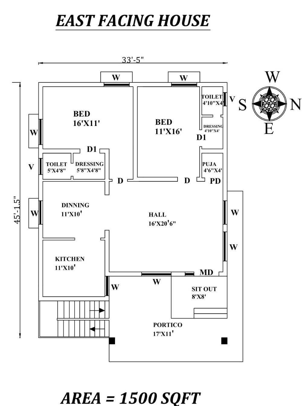 33 5 X45 Amazing 2bhk East Facing House Plan As Per Vastu Shastra Autocad Dwg And Pdf File Details In 2020 20x40 House Plans 20x30 House Plans Family House Plans