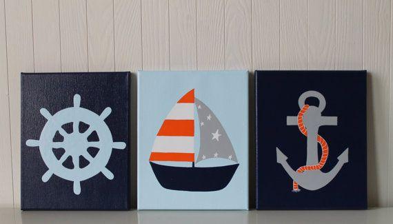 Nautical Nursery Decor Shipu0027s Wheel Sailboat Nursery Anchor Modern Nautical  Nursery Painting Navy Orange Gray Light Blue Kids Bathroom Decor