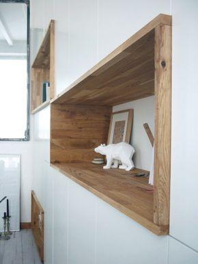 Mur rangements blanc bois scandinave | design, décoration ...