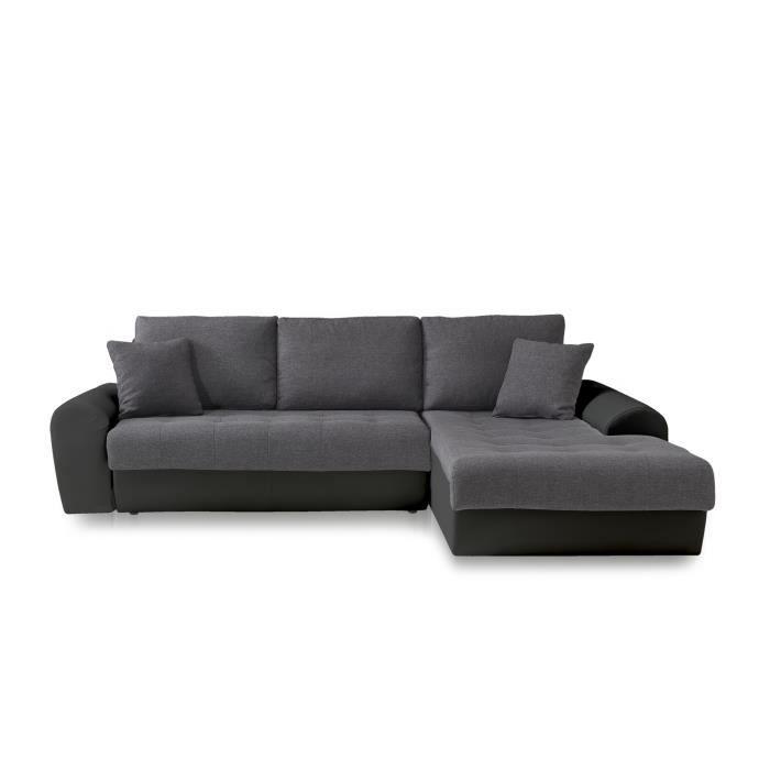 CLOE Canapé d angle droit convertible 4 places - Tissu gris et simili noir - c425770dc806
