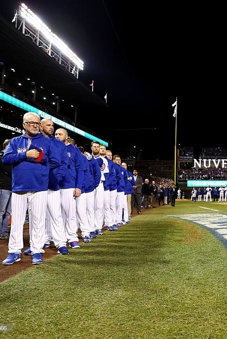 Cubs on field for pregame//Oct 30,2016 World Series Game 5 v CLE