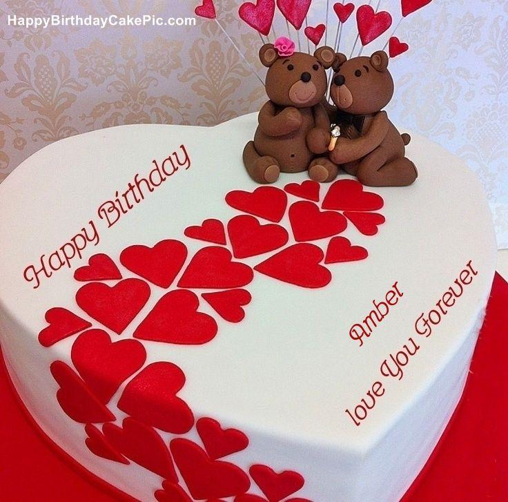Amber Happy Birthday Heart Birthday Wish Cake For Amber