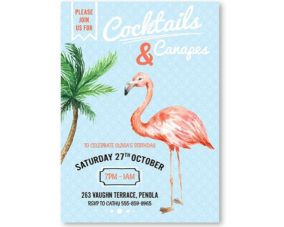 Flamingo Invitation Cocktail Party Invitation Printable Email - fresh invitation for birthday party by email