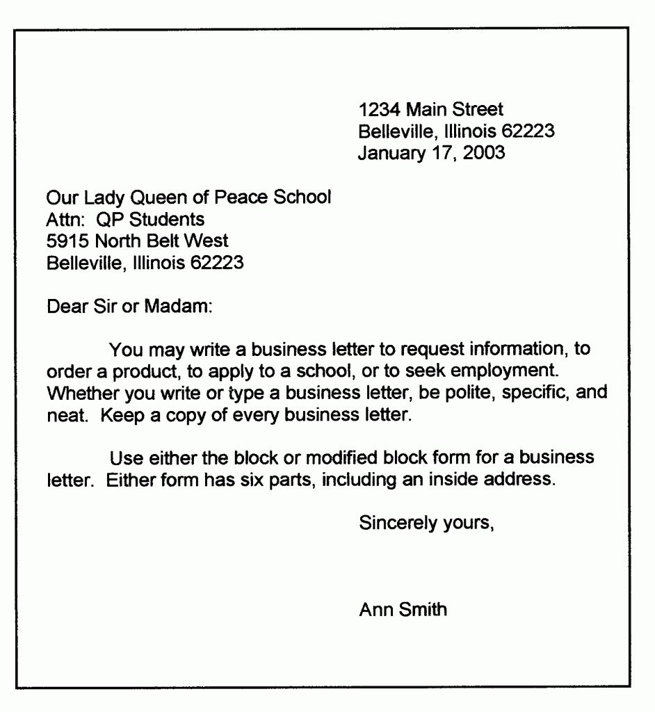 Personal Letter Template Word Format Business Sample In Modified Block Letter Template Word Business Letter Format Business Letter Example Letter Template Word