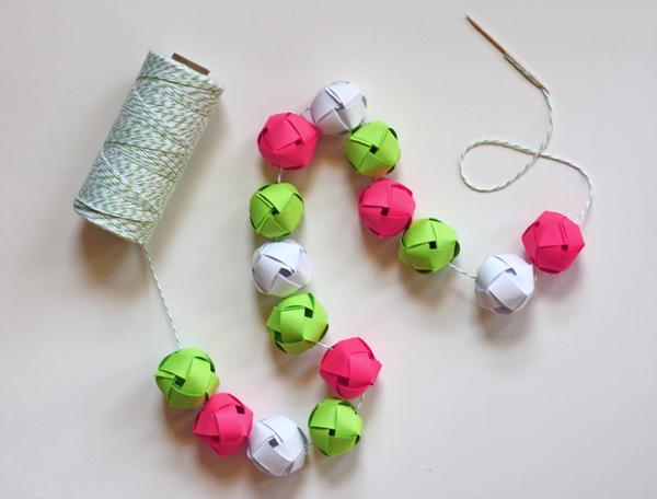 woven paper ball garland