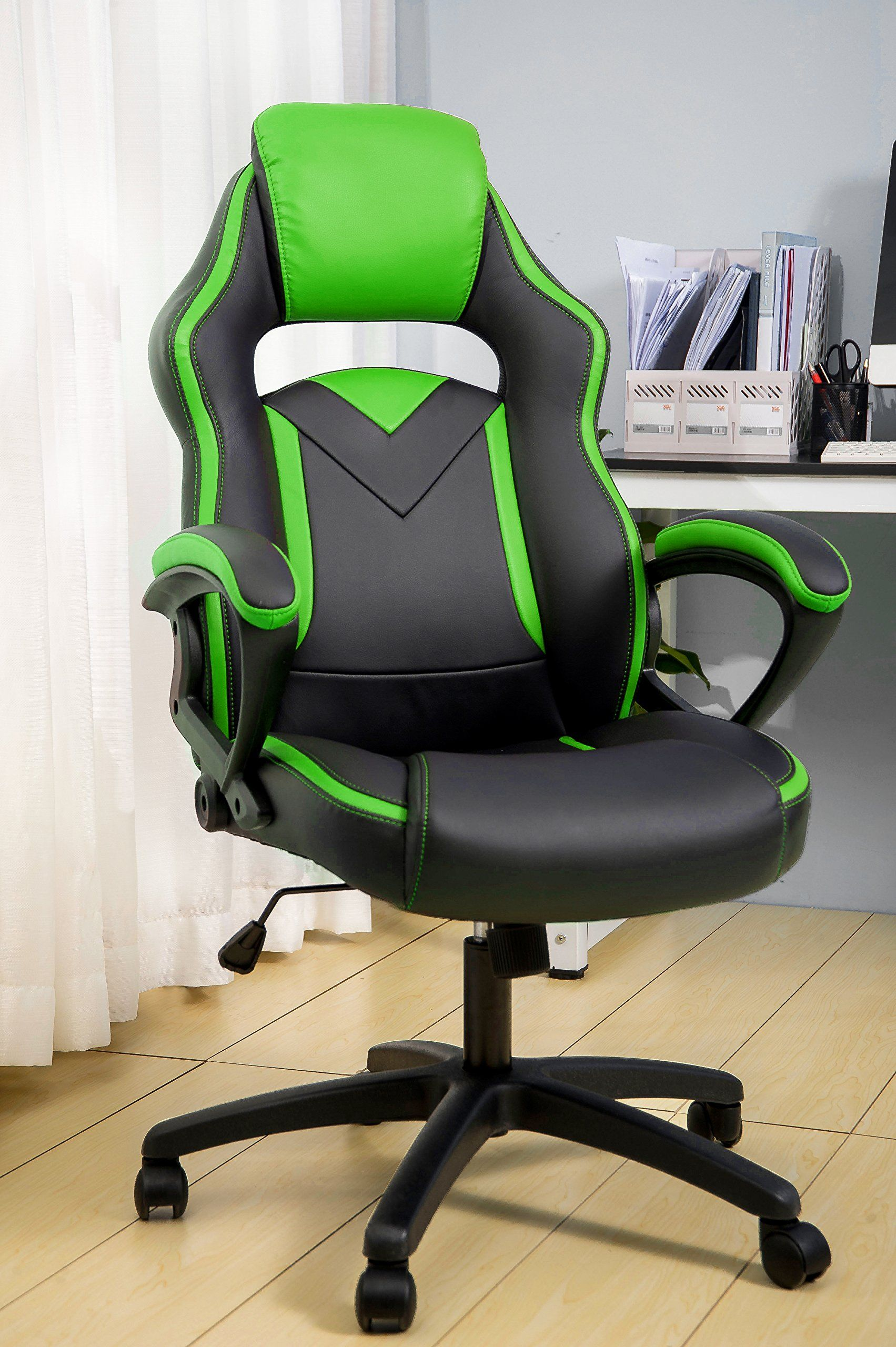 Merax Office Chair Computer Gaming Desk Chair Racing Style Ergonomic Design  Office Chair (green)