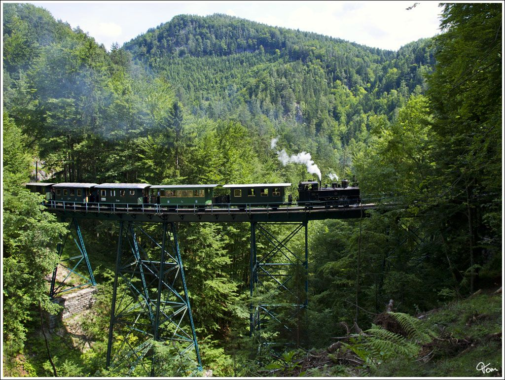 Das zweite Trestleworkbauwerk auf der der Ybbstalbahn ist die Wetterbachbrücke, über welche hier die Dampflok UV 1 mit dem Ötscherland Express fährt. Pfaffenschlag 13.7.2013