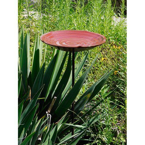 Spanish Red Ceramic Birdbath Achla Designs Without Pedestal Bird Baths Outdoor