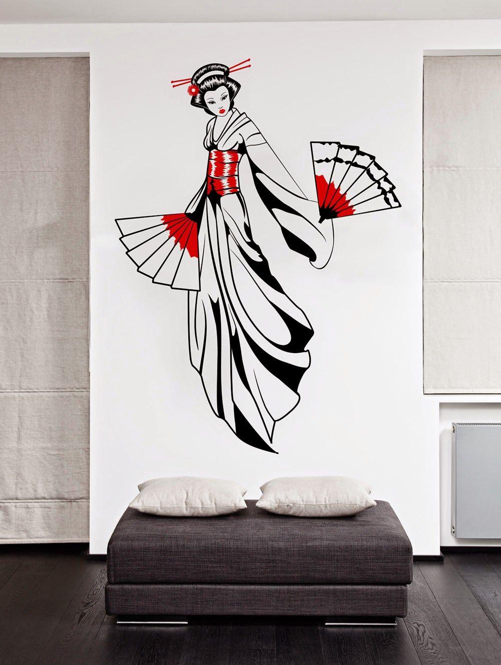 Vinilo decorativo moderno mo226 con imagen de una geisha for Vinilo blanco pared
