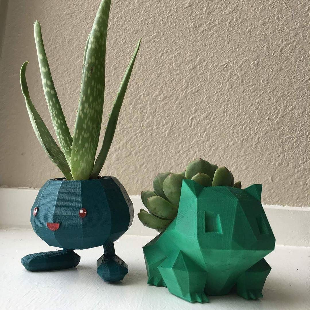 3D Printed Pokémon Planters Made For @turbocats. Photo By