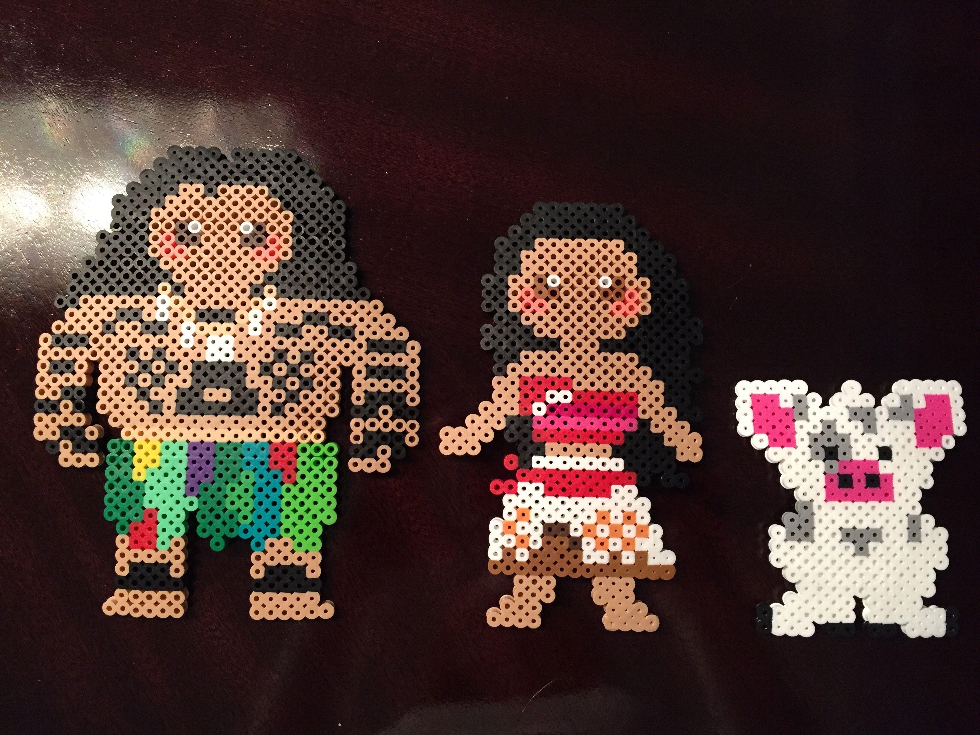 Disney Moana characters  Maui, Moana and Pua made from perler beads