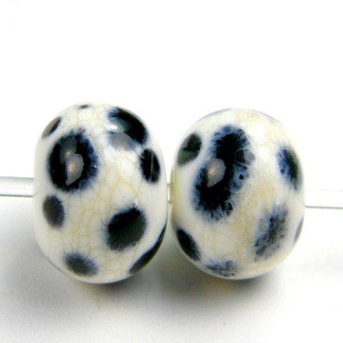 Handmade Lampwork Beads Artisan Glass Ivory Dalmation Faded Dots SRA | Covergirlbeads - Jewelry on ArtFire