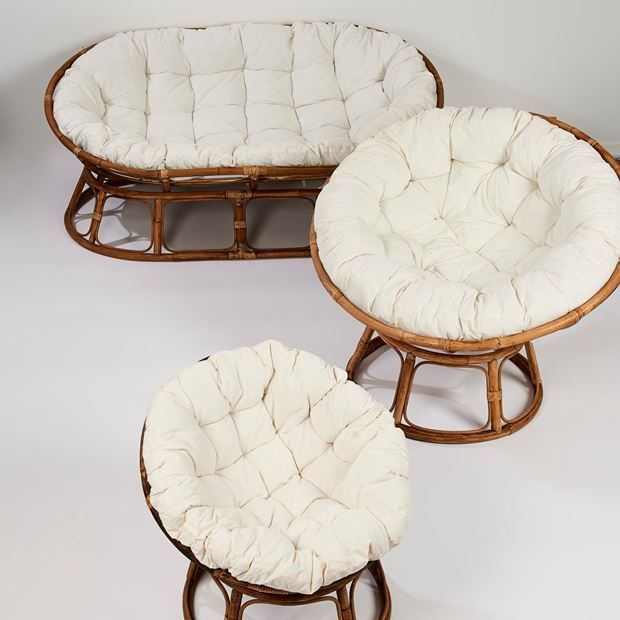Papasan Sedia Lounge Naturale Bianco Antico H 85 Cm O 113 Cm Chaises Salon Deco Chambre Bebe Deco Petit Salon