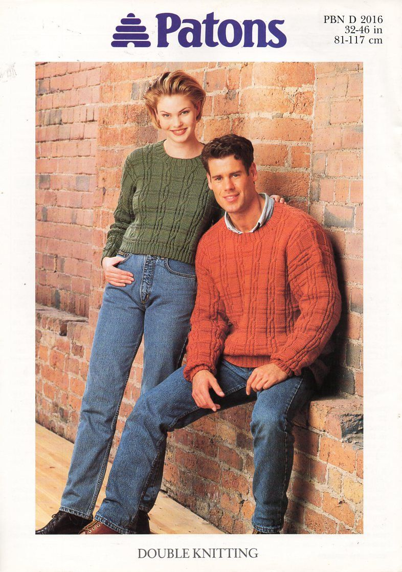 Original Womens Mens Dk Cable Sweaters Knitting Pattern Patons