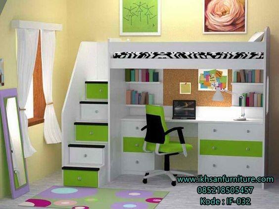 jual tempat tidur tingkat anak bawah meja belajar terbaru