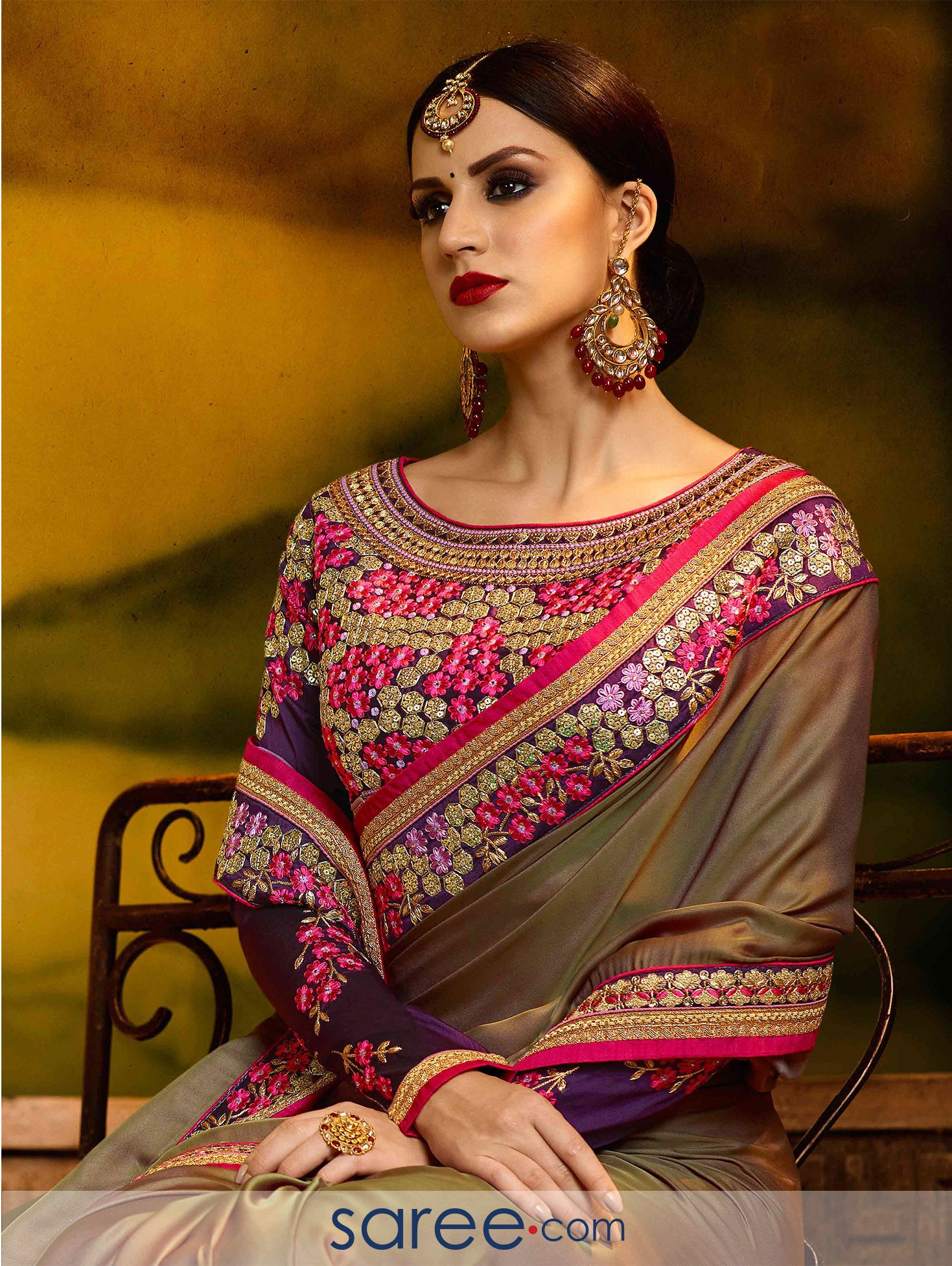 4d64cb5452868 Cedar Brown Silk Plain Saree with Designer Boat Neck Full Embroidered Blouse  Design