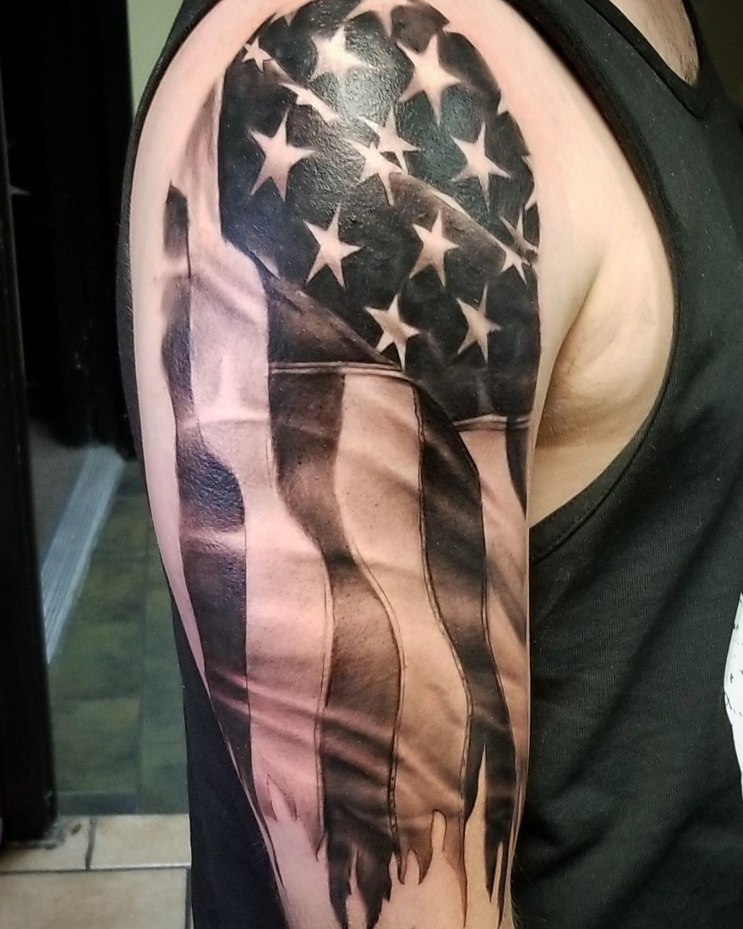 Black And Grey Flag Tattoo : black, tattoo, Johnson,, Tattoos, Tattoo,, Chicago,, Chicago, Tattoo, Artist,, Aztekink,, Vict…, Black, Sleeve,, American, Sleeve