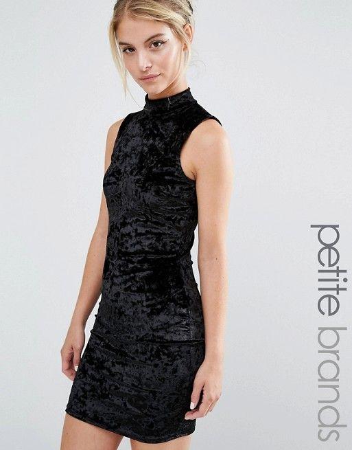 cf65af095f6328 Miss Selfridge Petite Crushed Velvet High Neck Bodycon Dress