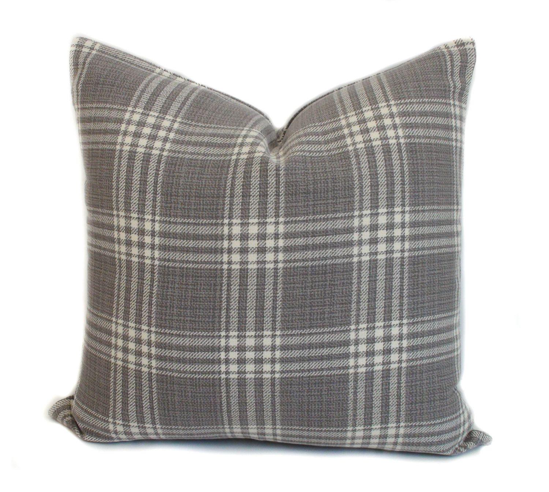 Gray pillow cover Plaid pillow Decorative pillow Gray throw