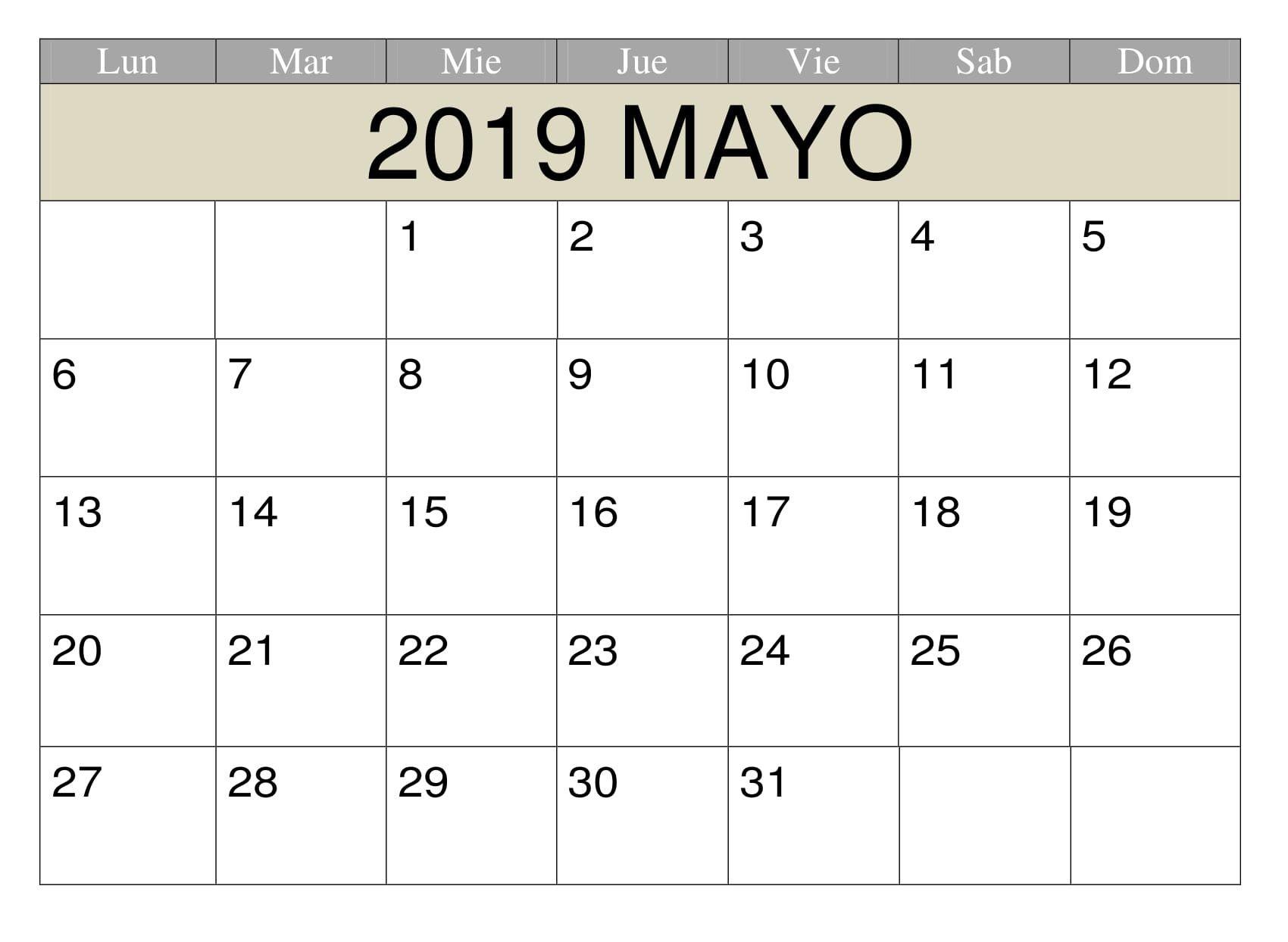 Calendario Word 2019.Mayo 2019 Para Imprimir Estilos Calendario 200 May 2019 Printable