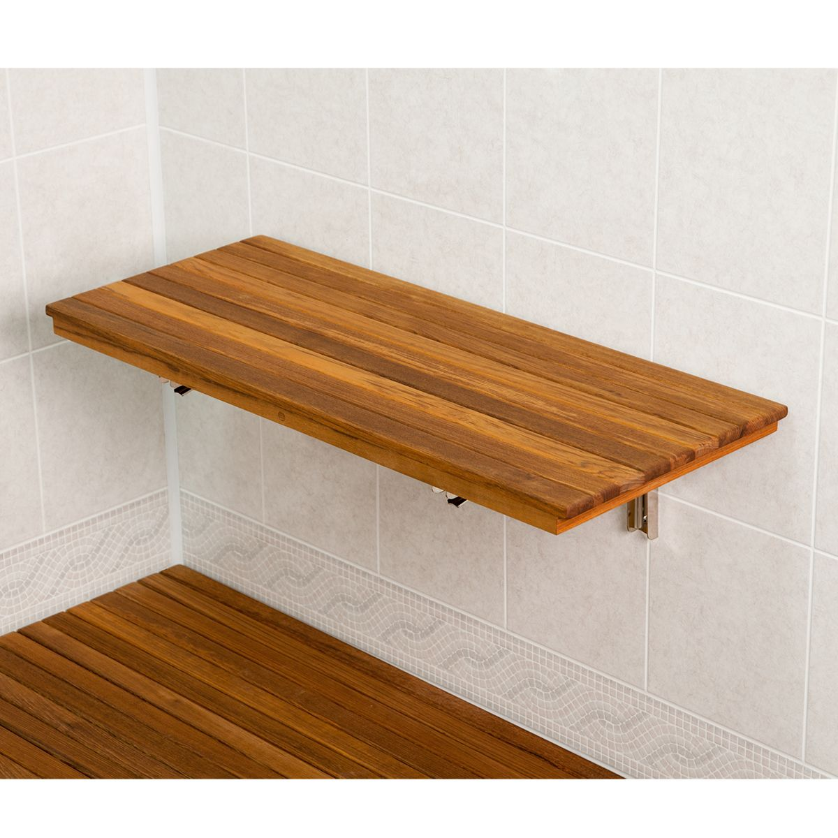30 Wide Teak Ada Wall Mount Shower Bench Seat Master Bath