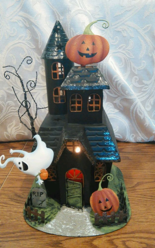 haunted house black metal tin votive candle holder halloween decoration - Metal Halloween Decorations